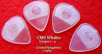 Vintage CMS Guitar Picks  (4 Total in All Gauges) -  Made in U.K. c. 1969