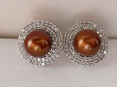1/3ct Diamond Double Halo Frame Pearl Stud Earrings- 10K Gold 0.43""