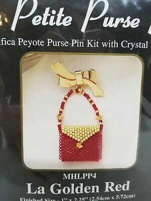 Mill Hill petite purse pin golden red beaded beading kit peyote