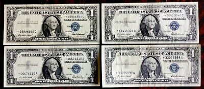 Lot of 4 - 1957 US *STAR NOTES* One Dollar Bills - Silver Certificates #7