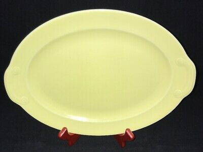 """Vintage T.S. & T. Lu-Ray Pastels 12"""" Yellow Oval Platter Vintage USA Made Rare"""