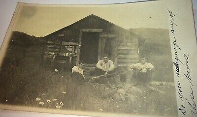 Rare Antique Western American Men, Cabin & Camp Fire! Real Photo Postcard! RPPC!