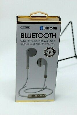 f4dfc1d3618 NEW Sentry Bluetooth Wireless Rechargeable Stereo Buds with In Line Mic,  White