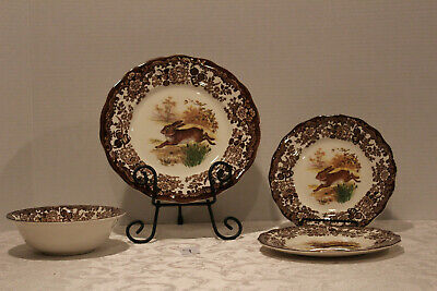 Royal Worcester Palissy Game Series Rabbit 4 piece Set Near Mint Condition #9