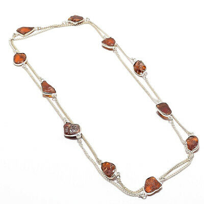 """Baltic Amber Rough Gemstone 925 Sterling Silver Necklace Jewelry 18"""" 200389755"""