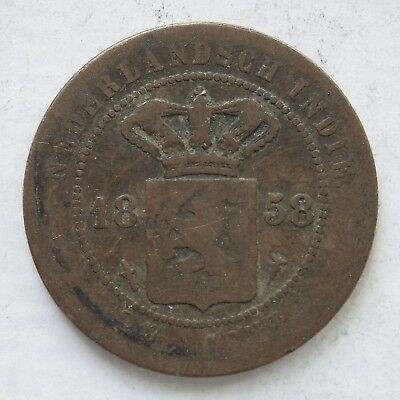 Netherland Indies 1858 2 1/2 Cents.Average Circulated(LotE11181118)Free Postage