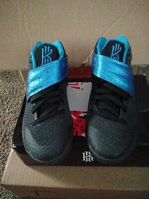 3b79421de1ac NIKE boys KYRIE 2 GS black blue glow anthracite basketball shoes size 5y in  box