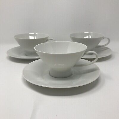 Set/3 Rosenthal Germany Raymond Loewy Coffee Cups & Saucers Classic Modern White