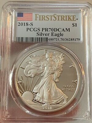 2018-S Proof $1 American Silver Eagle PCGS PR70DCAM First Strike Flag Label