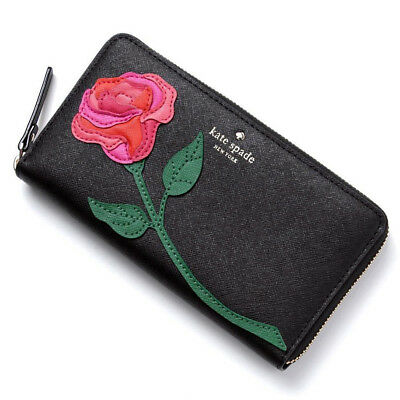 KATE SPADE Red Rose-Colored Glasses Floral Applique LACEY Wallet • NWT • RARE