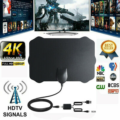 Indoor Digital TV Antenna Aerial Signal Amplified Thin HDTV HD Freeview 480 Mile
