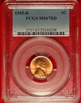1945 D 1C Pcgs Ms67 Rd High Grade Gem Uncirculated Plus Red Lincoln Wheat Cent