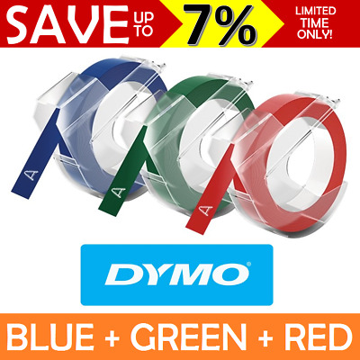 NEW 3 Pack Dymo Xpress Embossing Tape Refill Recharge 9mm x 3m Red Blue Green