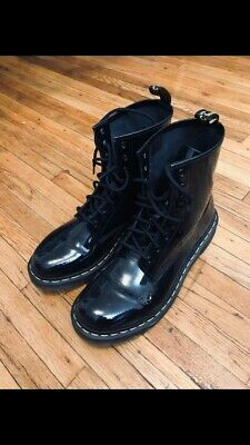 5f4e30300e8 DR. MARTENS 1460 Black Patent Leather Boots (Size US Womens 11 / Mens 10)