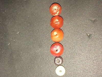 4 ancient roman carnelian beads 6mm-7mm Bonus Garnet And Agate Beads