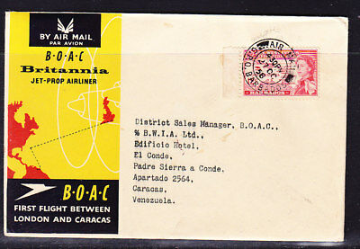 Barbados 1958 BOAC Jet Propliner to Caracas Venezuela Flight Cover