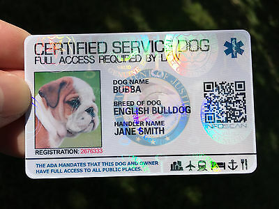 Certified Service Dog Id Card Customized Holographic ESA - ADA SEAL