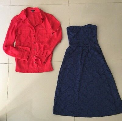 U GET BOTH ASOS BLUE STRAPLESS DRESS & TOKITO AS NEW RED TOP Size 6