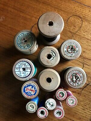 Vintage Wooden Cotton Reels Sewing Collectables With Cotton