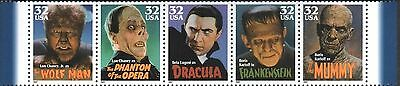 HOLLYWOOD CLASSIC US Scott 3168-3172 MOVIE MONSTERS 32c Complete 5 MNH Stamp Set