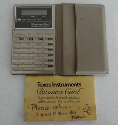 RARE 1979 Vintage Texas Instruments Business Card LCD Financial Calculator