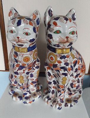 Pair of large Japanese Imari cats handpainted/signed 36cm high 19cm wide