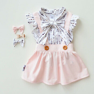 2Pcs Kid Baby Girl Bowknot Top T-shirt+Suspender Skirt Dress Outfit Clothes Set