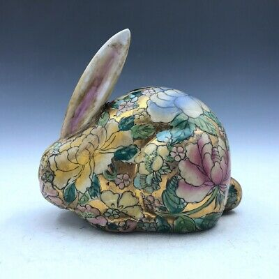China's rare pure manual painting gold colored enamel porcelain - the rabbit.