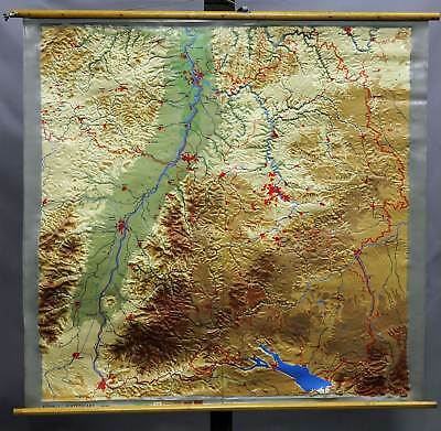 antique wall chart poster relief map South West Germany Black Forest Rhine plain