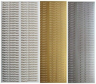 FINE MERRY CHRISTMAS Peel Off Stickers 68 x Merry Christmas Gold or Silver