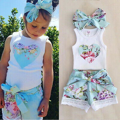 UK Summer Toddler Kids Baby Girls Floral Tops + Lace Shorts Outfits Clothes Set