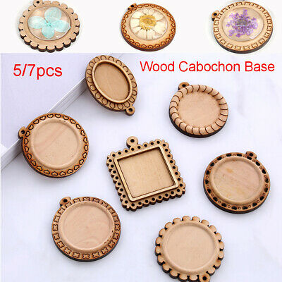 DIY Pendant Wood Cabochon Base Blank Tray Fit 30mm Cameo Stone Beads Jewelry~