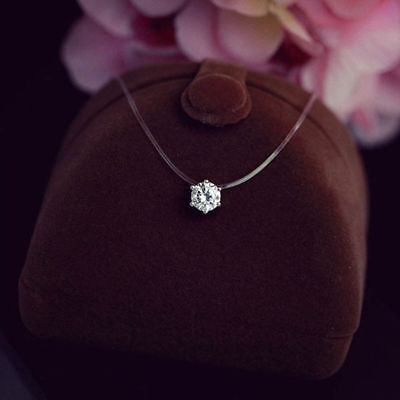 Hot AAA Zircon Crystal Invisible Line Clavicle Chain Women Girl Pendant Necklace