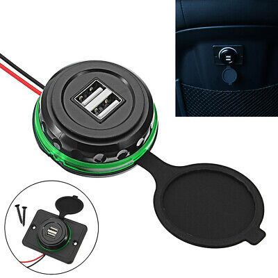 12V-24V Dual USB Port LED Circle Car Charger Socket 3.1A Power Adapter With Wire