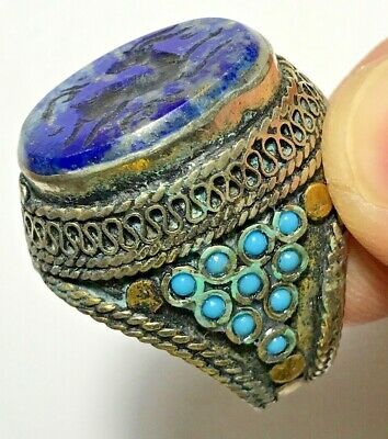 FANTASTIC MEDIEVAL SILVER RING WITH DEER SEAL LAPIS LAZOULI RARE STONE 15.7gr
