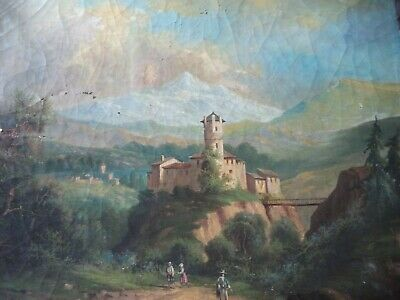 Ancienne Hst Huile Sur Toile Paysage Montagne Feodal   French Antique