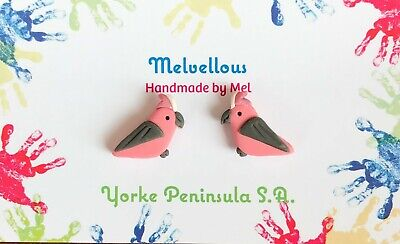 Galah earrings stud polymer clay Melvellous