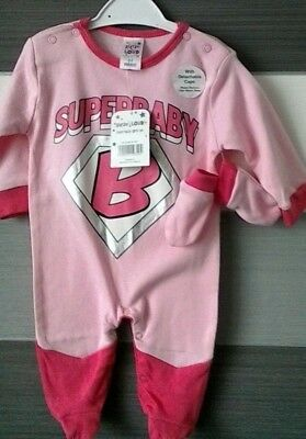 Baby Girls Novelty Pink Superbaby Sleepsuit with Cape & Mitts 0-3m BNWT