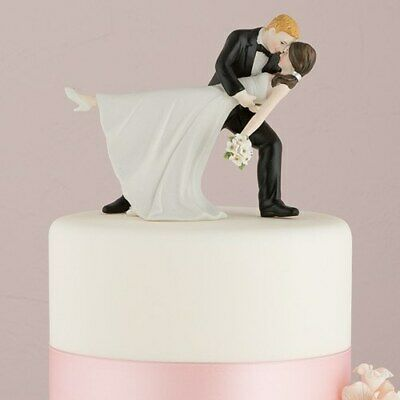 Wedding Cake Topper Dancing Bride and Groom Romantic Hand Painted Porcelain