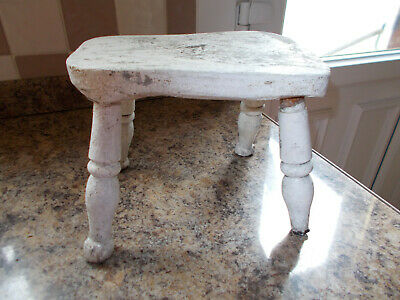 Antique Oak Hand Hewn Childs Milking Stool Ready For Restoration