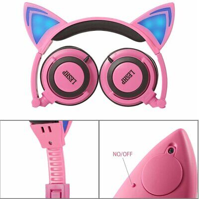 Cartoon Cat Ear Shape Headphone with Glowing Lights Wired Headband for ChildreJR