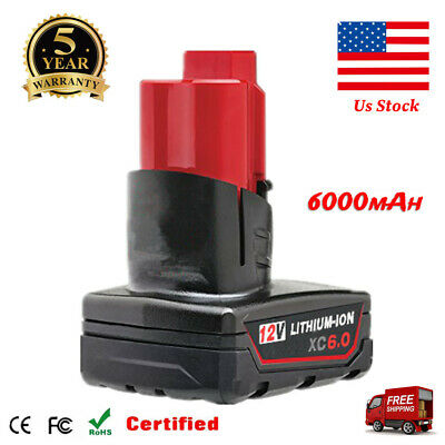 For Milwaukee M12 Lithium XC 6.0Ah Extended Capacity Battery 48-11-2460 12 Volt