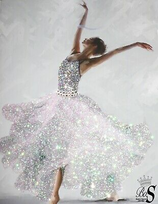 """Offer! Ballerina Sparkle glitter & Crystals canvas wall Picture. Large 30""""x20"""""""