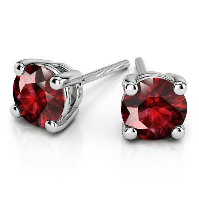 4.00Ct Round Shape Natural Ruby Stud 14K Solid  White Gold Screw Back Earrings