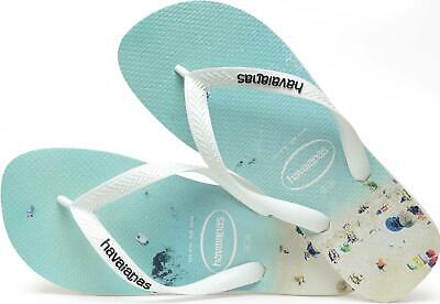 afed7d07f069 Havaianas HYPE Mens Summer Beach Pool 100% Rubber Flip Flops White Blue Aqua