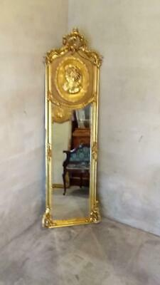 Antique Style Baroque French Matt Gold Cameo Trumeau / Pier Floor / Wall Mirror