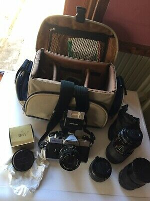 fujica stx-1n Vintage Camera With Flash, And Lenses In Carry Bag