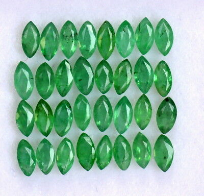 Natural Emerald Marquise Cut 4x2 mm Lot 10 Pcs 0.73 Cts Untreated Loose Gemstone