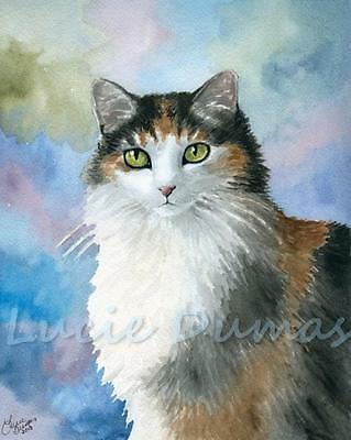 ACEO art print from art painting Calico Cat 572 watercolor by L.Dumas