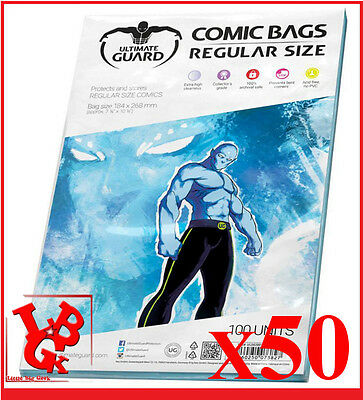 Pochettes Protection REGULAR Size comics VO x 50 Marvel Ultimate Bags # NEUF #